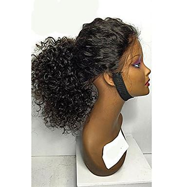 Cabelo Humano Frente de Malha Peruca Cabelo Brasileiro Encaracolado Kinky Curly Com Cabelo Baby Densidade 100% Feita a Mão Peruca Afro