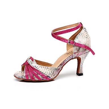 Mujer Zapatos de Baile Latino Cuero Sandalia Hebilla Tacón Stiletto Personalizables Zapatos de baile Melocotón / Interior / Entrenamiento