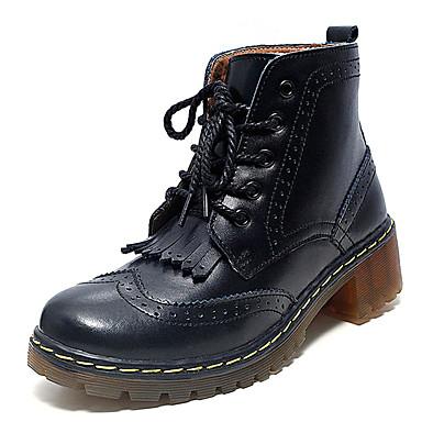 Dames Schoenen Leer Lente Herfst Winter Comfortabel Modieuze laarzen Laarzen Platte hak Veters Voor Causaal Wit Zwart Bruin