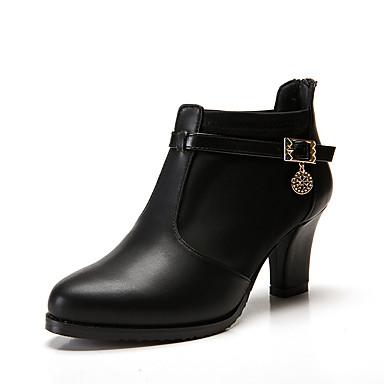 Női Cipő Szintetikus Mikrorost PU / Bőr Ősz / Tél Kényelmes / Közepesen magas szárú bakancs Csizmák Tűsarok Erősített lábujj mert Ruha /