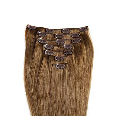 voordelige Extensions van echt haar-Febay Clip-in Extensions van echt haar Recht Extentions van mensenhaar Echt haar Dames - 8/613 Kever Chestnut Brown / Bleached Blonde