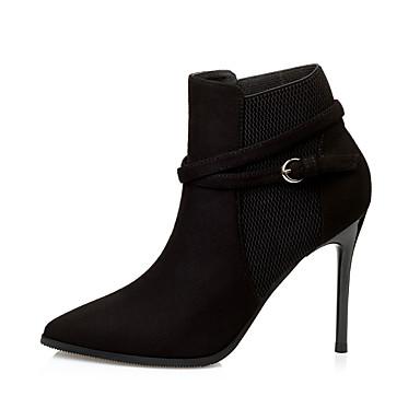 Naiset Kengät Mokkanahka Talvi Comfort Muotisaappaat Bootsit Piikkikorko Pointed Toe Varpaat peitetty Soljilla Käyttötarkoitus Puku Musta