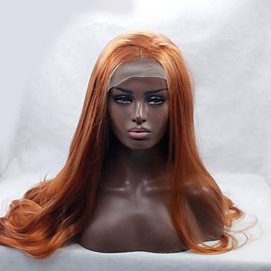 人工毛ウィッグ ウェーブ ブラックアメリカン風ウィッグ サイドパート ナチュラルヘアライン レッド 女性用 フロントレース ナチュラルウィッグ ロング 合成
