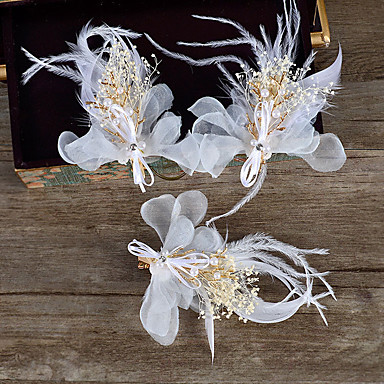 成人用 羽毛 人造真珠 ファブリック かぶと-結婚式 パーティー カジュアル 屋外 ヘアクリップ 1個
