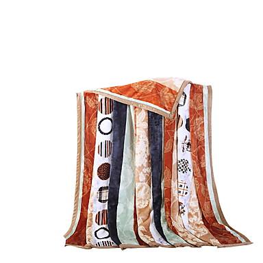 フランネル,純色 ストラップ柄 ポリエステル100% 毛布