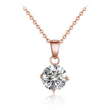 Dame Krystall Krystall Zirkonium Kubisk Zirkonium Anheng Halskjede  -  Personalisert Luksus dusk Sirkelformet Geometrisk Form Gull Sølv