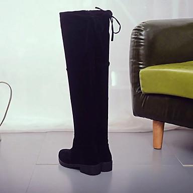 Hasta Rodilla Otoño Confort Zapatos Negro Invierno Botas Dedo Mujer redondo 05343987 la Vellón de Innovador Botas Tacón Plano Combate PU XqZxdRT