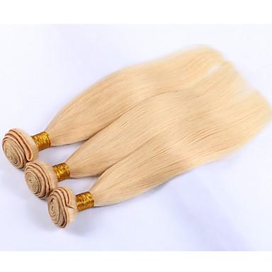 3 paquetes Cabello Hindú Recto Cabello humano Precolored Tejidos de pelo Cabello humano teje Extensiones de cabello humano / Corte Recto