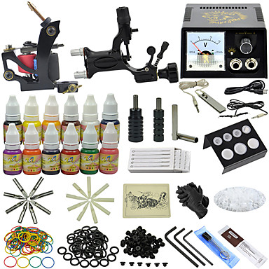 OPHIR Starter Tattoo Kit 1 x valurautainen tatuointikone viivoihin ja varjostukseen 1 x pyörivä tatuointikone viivoihin ja varjostukseen