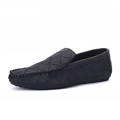 Homens sapatos Couro Ecológico Verão / Outono Mocassim Mocassins e Slip-Ons Preto / Cinzento / Verde / Ponta quadrada