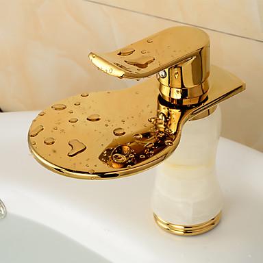 バスルームのシンクの蛇口 - プレリンス / 滝状吐水タイプ / 組み合わせ式 ローズゴールド センターセット シングルハンドル二つの穴