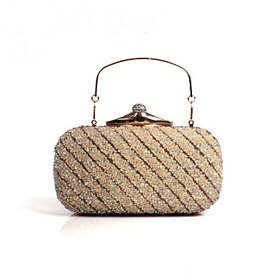 女性用 バッグ ポリウレタン イブニングバッグ クリスタル / ラインストーン シルバー / ゴールデン