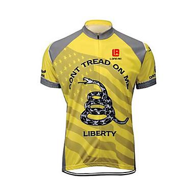 Hombre Manga Corta Maillot de Ciclismo - Amarillo Bicicleta Camiseta/Maillot, Secado rápido, Diseño Anatómico, Resistente a los UV,