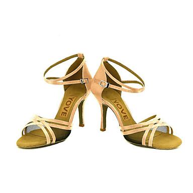 Mujer Zapatos de Baile Latino / Zapatos de Salsa Satén / Seda Sandalia / Tacones Alto Hebilla / Corbata de Lazo Tacón Personalizado Personalizables Zapatos de baile Amarillo / Fucsia / Morado / Cuero