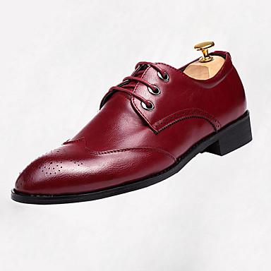 Miehet kengät Nahka Syksy Comfort Oxford-kengät Kävely Solmittavat Käyttötarkoitus Kausaliteetti Musta Harmaa Burgundi