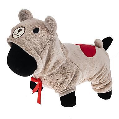 Gato Perro Disfraces Saco y Capucha Mono Ropa para Perro Caricatura Gris Marrón Pana Disfraz Para mascotas Hombre Mujer Bonito Cosplay