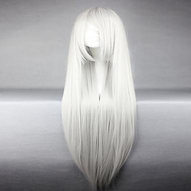 Syntetiske parykker / Kostymeparykker Rett Syntetisk hår Hvit Parykk Dame Lokkløs Hvit hairjoy