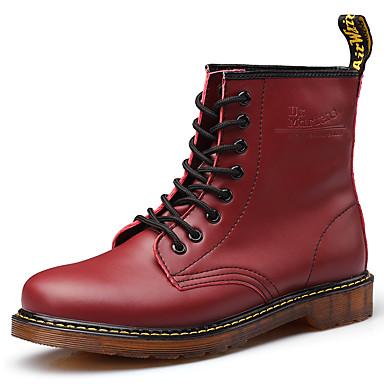 Miesten kengät PU Nahka Syksy Talvi Maiharit Ratsastussaappaat Cowboy / bootsit Bootsit Solmittavat varten Kausaliteetti ulko- Musta