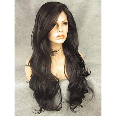 Syntetiske parykker Bølget Syntetisk hår Svart Parykk Blonde Forside Svart