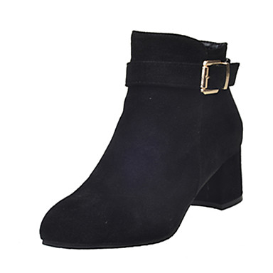 Mulheres Sapatos Couro Ecológico Outono Inverno Botas da Moda Conforto Botas Caminhada Salto Robusto Dedo Apontado Ziper para Casual