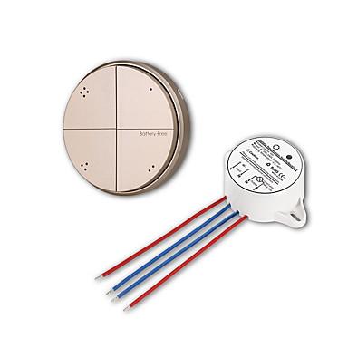 4 gangue interruptor de parede de luz controle remoto sem fio auto-alimentado sem bateria - ouro