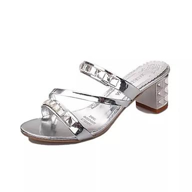 Mulheres Sapatos Couro Ecológico Verão Conforto Sandálias Salto Robusto Salto Alto de Cristal Dedo Apontado Cristais para Social Prata