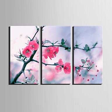 E-HOME® Peach Blossom Clock in Canvas 3pcs