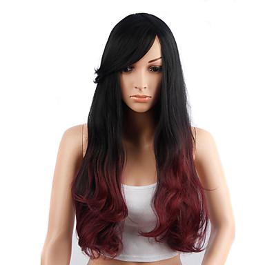 AISI HAIR Naisten Synteettiset peruukit Laineita Musta/Punainen Luonnollinen peruukki Rooliasu peruukki