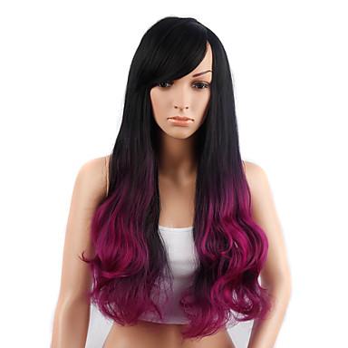 Synteettiset peruukit Laineita Tiheys Suojuksettomat Naisten Musta Luonnollinen peruukki Synteettiset hiukset