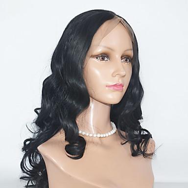 Naisten Aitohiusperuukit verkolla Aidot hiukset Lace Front 130% Tiheys perverssi Peruukki Jet Black Musta Tummanruskea Black / Medium