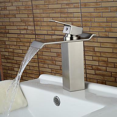 Nykyaikainen Integroitu Vesiputous Keraaminen venttiili Yksi reikä Yksi kahva yksi reikä Harjattu nikkeli , Kylpyhuone Sink hana