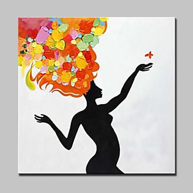 Maalattu Ihmiset / Abstraktit muotokuvat öljymaalauksia,Moderni 1 paneeli Kanvas Hang-Painted öljymaalaus For Kodinsisustus