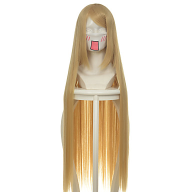 Kostymeparykker / Syntetiske parykker Rett Blond Dame Lokkløs Cosplay-parykk Lang / Veldig lang Syntetisk hår