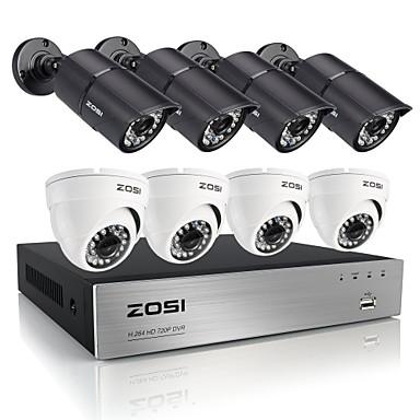 zosi®hd 8 csatornás 720p HDMI dvr 8db 1.0mp biztonsági kamera rendszer szett