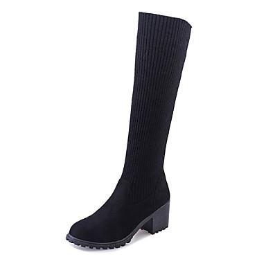 Mujer Zapatos Cachemira Invierno Botas de Combate Botas Paseo Tacón Cuadrado / Plataforma / Talón de bloque Dedo redondo Cuados Escoceses