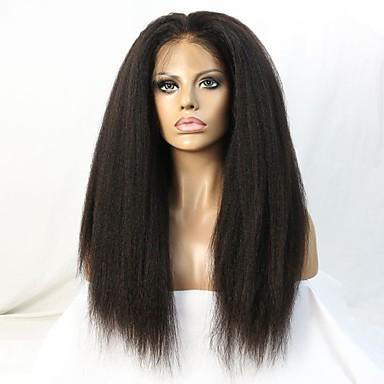 povoljno Perike i ekstenzije-Ljudska kosa Perika s prednjom čipkom bez ljepila Lace Front Perika stil Brazilska kosa Ravan kroj Kinky Ravno Perika 130% 150% Gustoća kose 10-22 inch s dječjom kosom Prirodna linija za kosu