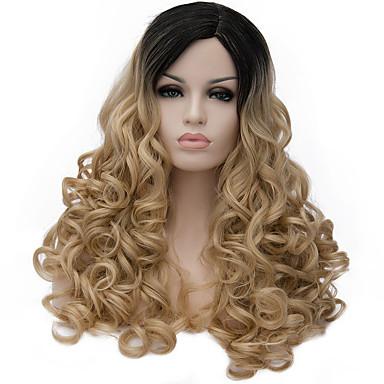 Syntetiske parykker Krøllet / Dyp Bølge Gull Asymmetrisk frisyre Syntetisk hår Naturlig hårlinje Gull Parykk Dame Lang Lokkløs