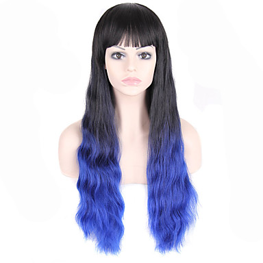 Cabelo Sintético perucas Ondulado Cabelo Ombre Com Franjas Sem Touca Peruca Natural
