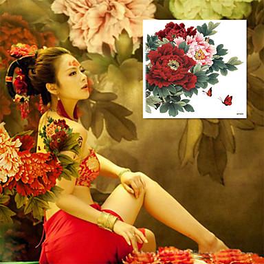1 pcs Tatuajes Adhesivos Los tatuajes temporales Series de Flor Impermeable / Talla Grande Artes de cuerpo