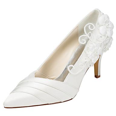 Mujer Zapatos Satén Elástico Primavera / Otoño Tacones Tacón Stiletto Dedo Puntiagudo Apliques Blanco / Marfil / Boda / Fiesta y Noche