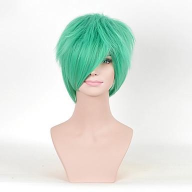 人工毛ウィッグ カール 密度 女性用 グリーン カーニバルウィッグ ハロウィンウィッグ コスプレ用ウィッグ ミディアム 合成