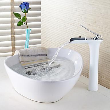 Moderna Tradicional Conjunto Central Cascata Válvula Cerâmica Uma Abertura Monocomando e Uma Abertura Pintura, Torneira pia do banheiro