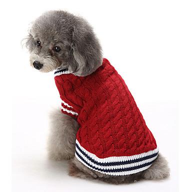 Kat Hund Bluser Jul Hundetøj Farveblok Rød Blå Bomuld Kostume For kæledyr Herre Dame Afslappet/Hverdag Hold Varm