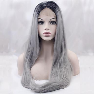 Syntetiske parykker Rett Dame Blonde Forside Naturlig parykk Syntetisk hår