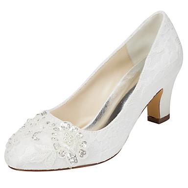 Mujer Zapatos Satén Elástico Primavera / Otoño Tacones Tacón Cuadrado Dedo redondo Cristal / Perla Blanco / Marfil / Boda