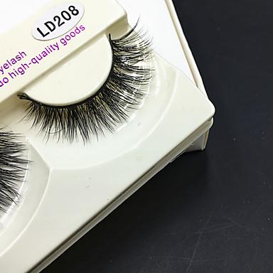 1 pair 睫毛 まつ毛 フルタイプつけまつげ 目 厚型 濃密 手作り アニマルヘア アイラッシュ Black Band 0.10mm 12mm