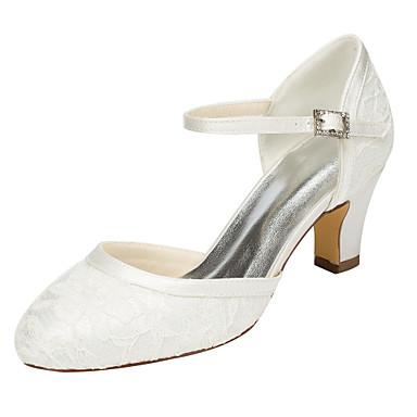 Mulheres Sapatos Cetim com Stretch Primavera / Outono Sandálias Salto Robusto Ponta Redonda Cristais Branco / Ivory / Casamento