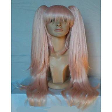 Synthetische Perücken Glatt Rosa Mit Pferdeschwanz Synthetische Haare Rosa Perücke Damen Kappenlos Rosa