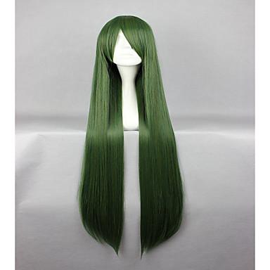 Pelucas sintéticas / Pelucas de Broma Recto Pelo sintético Verde Peluca Mujer Sin Tapa