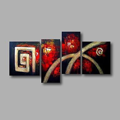 Maalattu Abstrakti öljymaalauksia,Moderni 4 paneeli Kanvas Hang-Painted öljymaalaus For Kodinsisustus